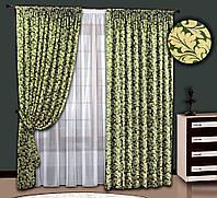 """Шторный комплект """"Морозный завиток"""" (зеленый), шторы+тюль"""
