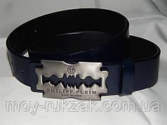 Ремень мужской кожаный PHILIPP PLEIN, синий 40 мм, реплика 930479