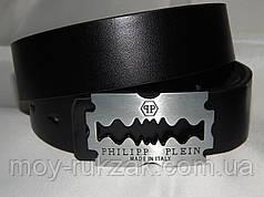 Ремень мужской кожаный PHILIPP PLEIN, черный 40 мм, реплика 930481