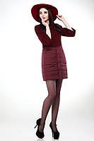 Модное пальто-двойка марсала женское размеры  42-50