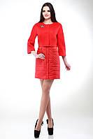 Красное пальто-двойка мода 2017 женское размеры  42-50