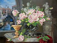 """Схема на атласе для вышивки бисером """"Натюрморт с розами"""""""