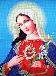 """Схема для вышивки бисером """"Пресвятая Дева Мария""""."""