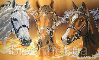 """Схема для вышивки бисером """"Три коня""""."""