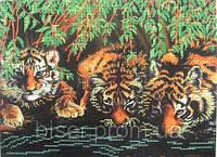 """Схема на габардине для вышивки бисером """"Тигры под ветками ивы"""""""