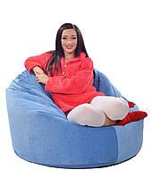Голубое велюровое большое кресло мешок