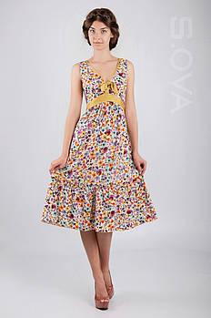Платье женское хлопковое цветочный принт