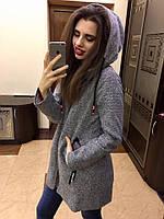 Пальто Стильное женское с капюшоном букле серое
