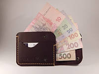 """Чоловічий гаманець мужской кошелек """"Міні"""", коричневий, код: w005.1, виробництво Україна"""
