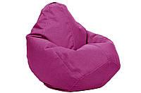 Бежевое кресло мешок груша 100*75 см из микро рогожки, кофе с молоком S 100*75 см, малиновый