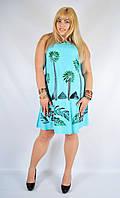 Платье голубое с пальмами, роспись - ручная работа, до 52 р-ра