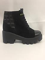 Ботиночки комбинированные чёрного цвета