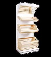 Стелаж хлібний металевий з дерев'яними кошиками 1600*950 мм Ристел, фото 1