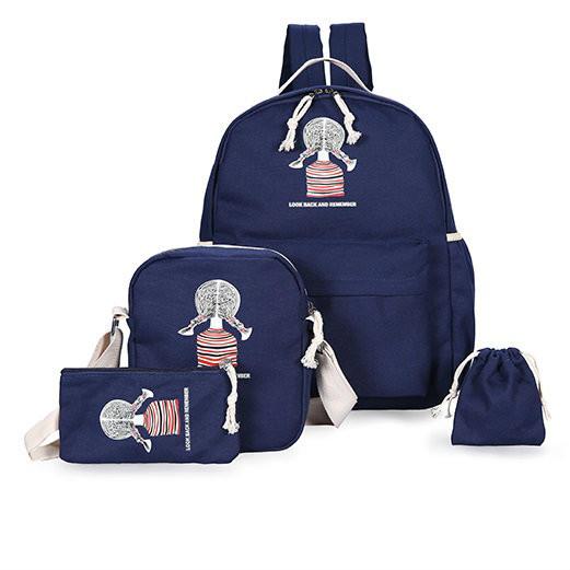 Школьный рюкзак с девочкой 4 в 1
