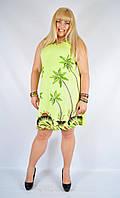 Платье салатовое с пальмами, роспись - ручная работа, до 52 р-ра