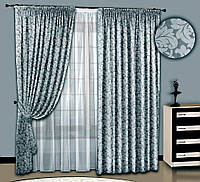 """Шторный комплект """"Морозный завиток"""" (серый), шторы+тюль"""
