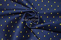 Ткань коттон  тёмно-синий в желтые сердечки