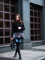 Пальто кашемировое с натуральным мехом чернобурки