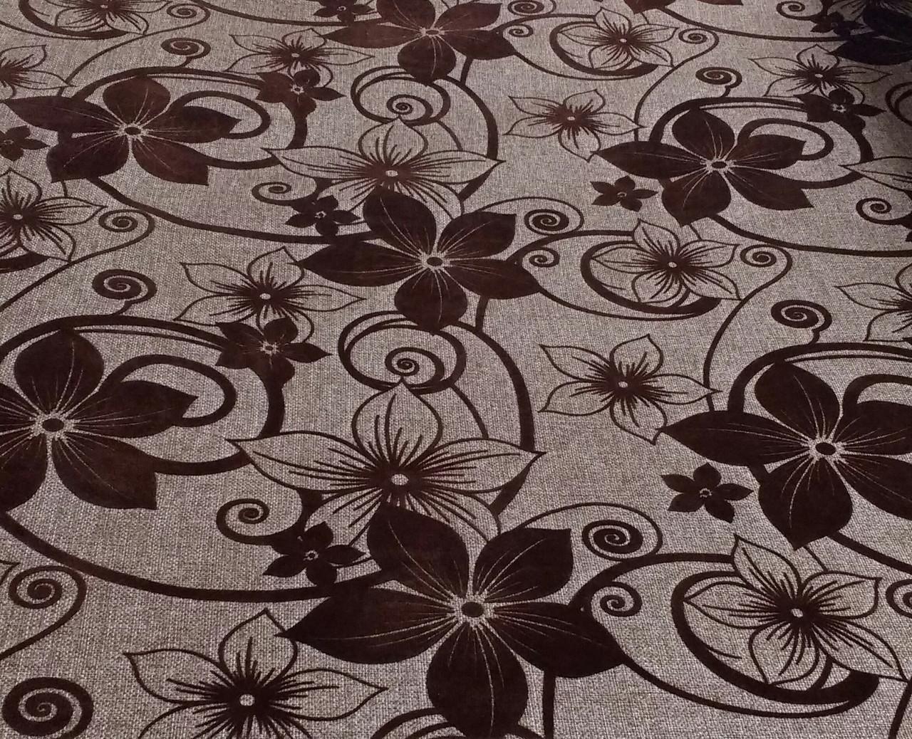 Мебельная рогожка с флоком ткань Шервуд коричневый