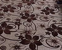 Мебельная рогожка с флоком ткань Шервуд коричневый, фото 1