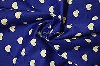 Ткань коттон синий в белые сердечки