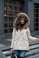 Куртка парка с натуральным мехом финского енота