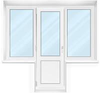 """Балконный блок Grintech 3-камерный """"Чебурашка"""" Балконная дверь 700*2100 и два окна с двух сторон 800*1400"""