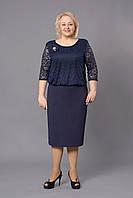 Темно-синие гипюровое платье с аппликацией