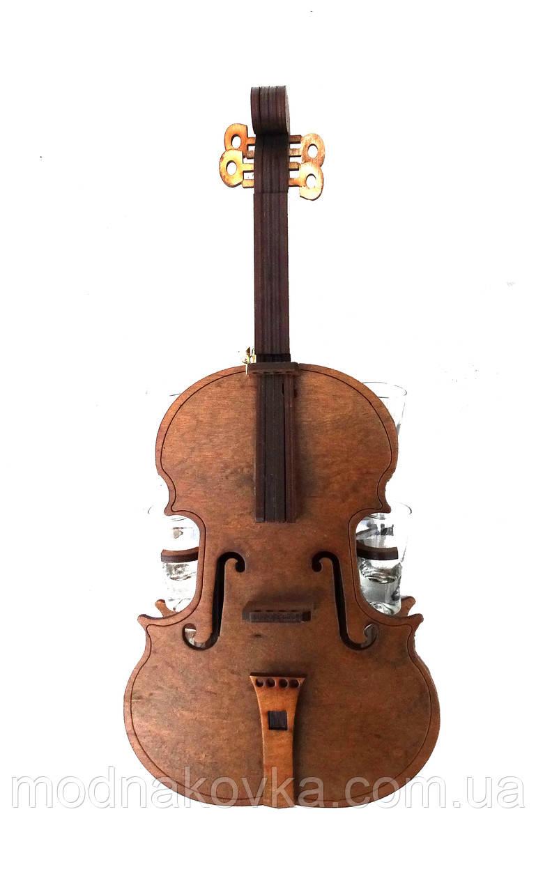 Мини-бар с рюмками деревянный Скрипка