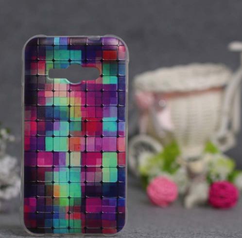 Силіконовий чохол для Samsung Galaxy J1 Ace моделі j110 з картинкою Кольорові квадратики