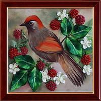 вышивка лентами птицы
