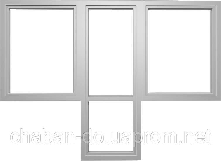 """Балконный блок Wintech 5-камерный """"Чебурашка"""" Балконная дверь 700*2100 и два окна с двух сторон 800*1400"""