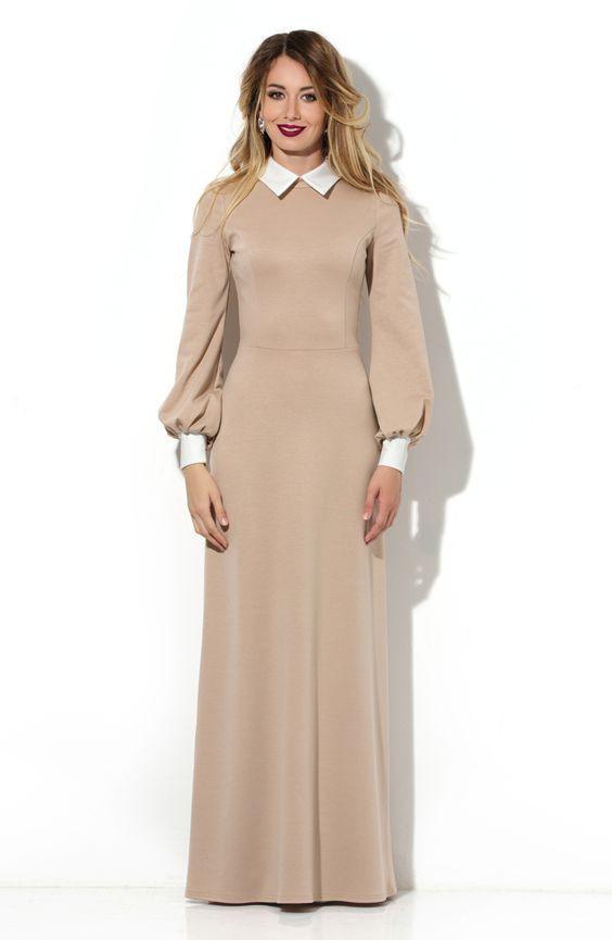 Платье в пол из плотного трикотажа
