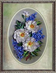"""Набор для вышивания атласными лентами """"Белые розы и фиалки"""""""