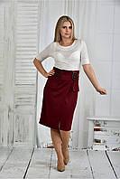 Р48,50,52,54,56,58,60 Деловое платье марсал 770396 батал белое большого размера в офис осеннее весеннее
