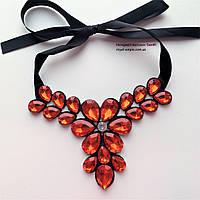 """Ожерелье """"Лиза"""" нарядное с кристаллами, красного цвета."""