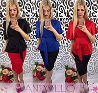 Костюм юбка с блузой под пояс