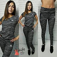 Костюм Аdidas женский для фитнеса футболка и лосины 2 цвета Ff16