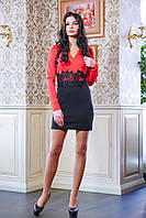 Платье с кружевом на талии КРИСТИ коралловое