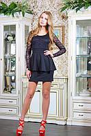 Платье с гипюровым верхом АНАБЕЛЬ черное