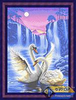 Схема для полной вышивки бисером - Лебеди под луной на водопаде, Арт. ЖБп2-1