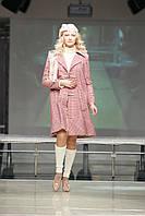 Пальто розовое в клетку с юбкой и свитером Арт.003