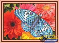 Схема для частичной вышивки бисером - Бабочка на желтых цветах, Арт. ЖБч3-27