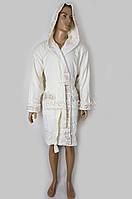 Короткий махровый мужской халат Nusa (белый) №2710