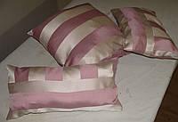Комплект подушек  полоска бежевая и розовая, 3шт, фото 1