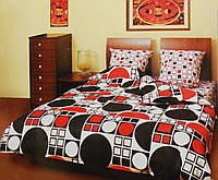 Комплект постельного белья Круг красно-черный
