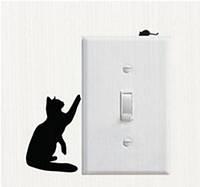 """Интерьерная виниловая наклейка на выключатель """"Кот и мышка"""", 3D дизайн"""
