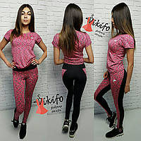 Костюм женский для фитнеса футболка и лосины 2 цвета Ff17