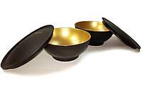 Чаша Аллегро черно-золотая (античное золото) 275 мл 2шт Идеальна для любимого десерта.