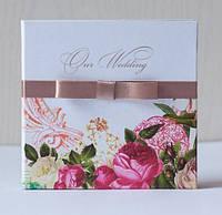 Коробочка (бокс) для свадебного диска с цветами (акварель)